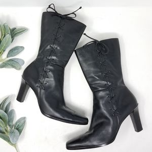 ANNE KLEIN Tall Leather Laced Heeled Boot 9